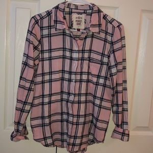 SO perfect shirt flannel pink white navy & silver